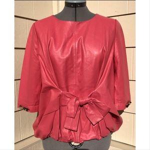 Marc Jacobs Pink Lamb Leather Blouson Top